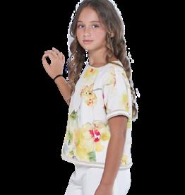 Emie top korte mouw bloemdessin