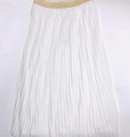Emie ecru rok plisse lang goud band lurex