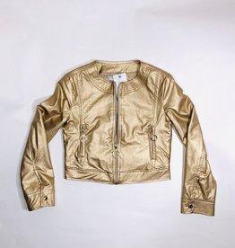 Emie gouden blazer met rits leather look