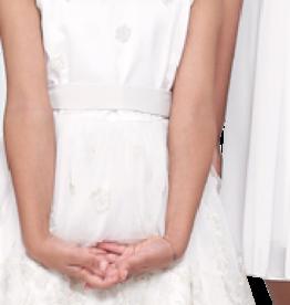 Emie jurk ecru met bloem borduur