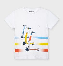 Mayoral T-shirt wit  stepjes gekleurd