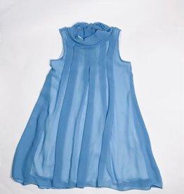 RTB jurk blauw voile kraagje strik achter