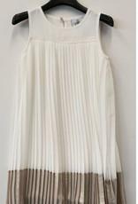 RTB jurk plisse ecru goud onder