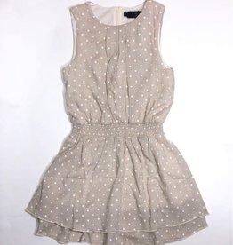 Noali jurk beige witte stip