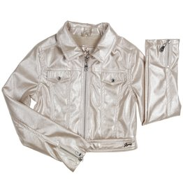 Gymp bomber jas parel leatherlook kraag