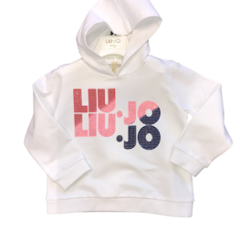 Liu Jo sweater wit kap logo kleur