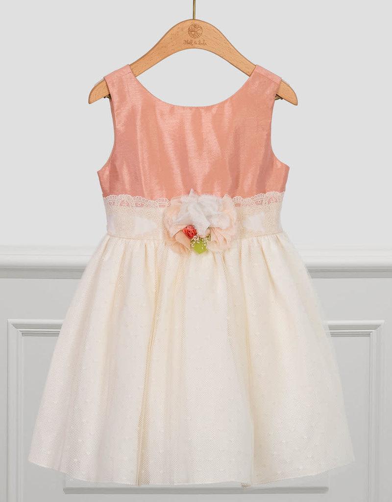 Abel&Lula jurk oud roze met ecru