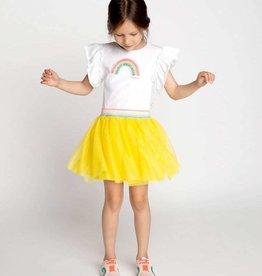 Billieblush jurk wit ruches geel