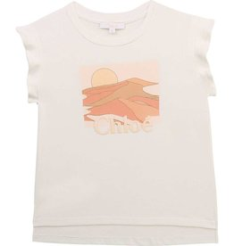 Chloe T-shirt ecru ruche zalm print