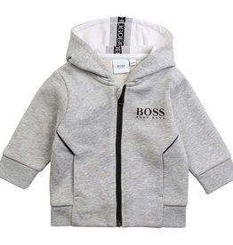 Hugo Boss gilet grijs chine sweat kap rits