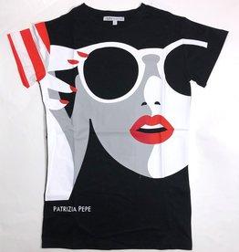 Patrizia Pepe maxi t-shirt zwart met bril