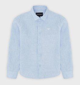 Armani hemd lichtblauw linnen