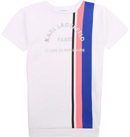 Karl Lagerfeld jurk wit strepen blauw framboos