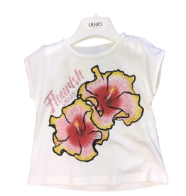 Liu Jo T-shirt wit bloem fuchsia/geel