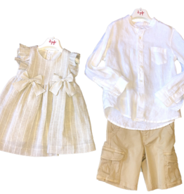 Il gufo jurk beige strik fijne streep