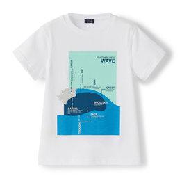 Il gufo T-shirt wit-aquagroen wave