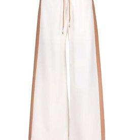 Elsy broek sweatstof wit beige streep