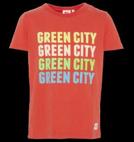 AO76 T-shirt rood green city