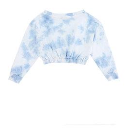 Monnalisa sweater kort wit blauw en vlinder