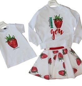 Monnalisa witte rok met rode aardbeien