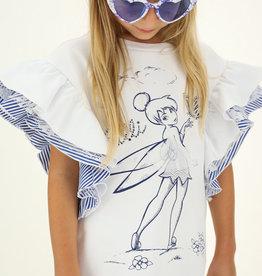 Monnalisa witte jurk kapmouw streep meisje frilli