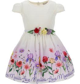 Monnalisa jurk ecu met bloemen en logo op de rok
