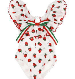 Monnalisa badpak wit met aardbeien