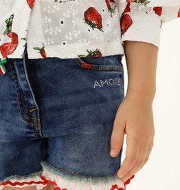 Monnalisa jeans short amore randje rood