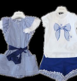 Monnalisa t-shirt wit strik streep blauw wit