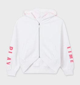 Mayoral witte gilet met kap en fluo roze letters