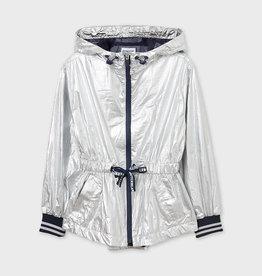 Mayoral jas in zilverkleur met kap en rits