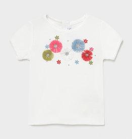 Mayoral T-shirt wit bloemen kleur