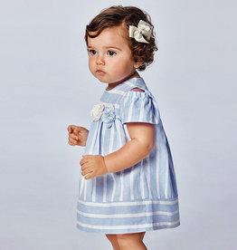 Mayoral jurk streep blauw wit open mouw