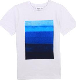 Hugo Boss T-shirt wit km print blauw