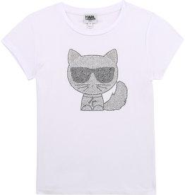 Karl Lagerfeld T-shirt wit karl bril