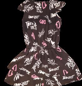Twinset jurk zwart grafitti