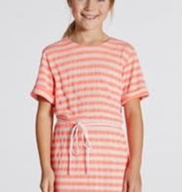 Blue Bay jurk Mieke streep oranje fluo grijs