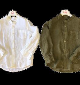 Il gufo hemd linnen wit maokraag