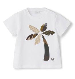 Il gufo T-shirt wit+palmboom