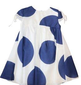 Special Day jurk wit donkerblauw cirkel