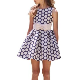 Mimilu jurk blauw wit met witte ceintuur