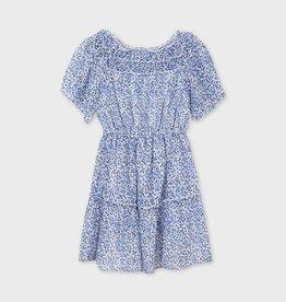 Mayoral jurk chiffon blauw wit