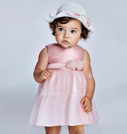 Mayoral jurk roze rok tule stippen goud