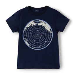 Il gufo T-shirt blauw+wereld