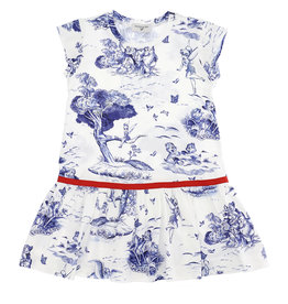 Monnalisa jurk jersey wit blauw sprookjes