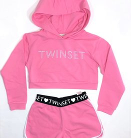 Twinset set sweater +short rose blosom