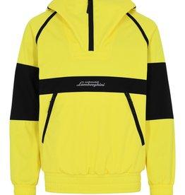 Lamborghini hoodie jas geel contrast zwart