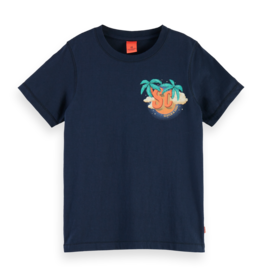 Scotch&Soda T-shirt donkerblauw palmboom