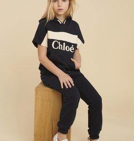 Chloe blauwe hoodie km zalm streep