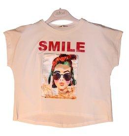 Jeycat T-shirt wit met smile en bril